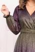 Rochie de seara multicolora cu fir irizant midi plisata cu decolteu in V petrecut si maneca lunga