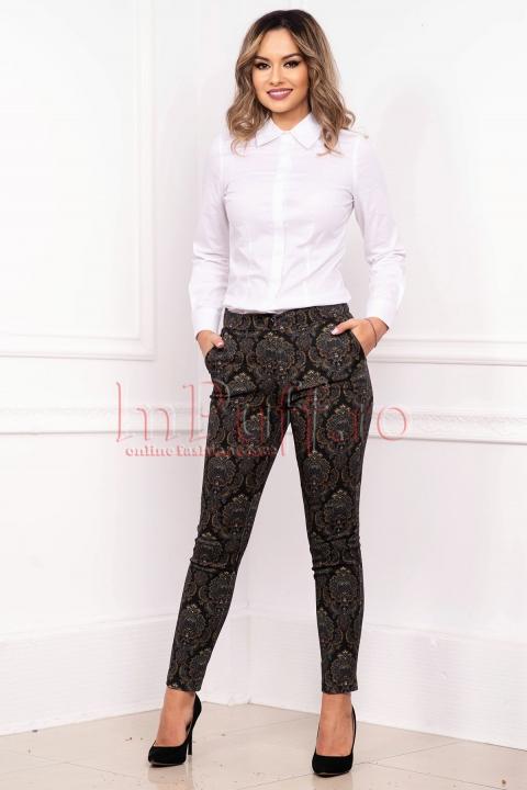 Pantaloni de dama casual conici cu buzunare laterale din tercot