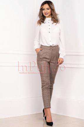 Pantaloni dama casual conici din stofa in carouri cu buzunare laterale