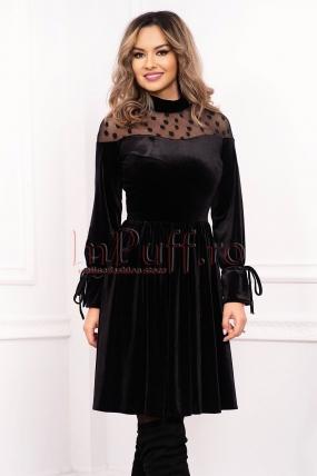 Rochie Artista neagra de seara midi in clos din catifea cu maneca lunga