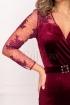 Rochie Artista bordo de seara midi conica din catifea cu maneca lunga din dantela