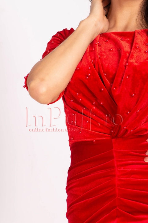 Rochie Artista rosie de seara midi din catifea cu despicatura in fata si maneca trei sferturi