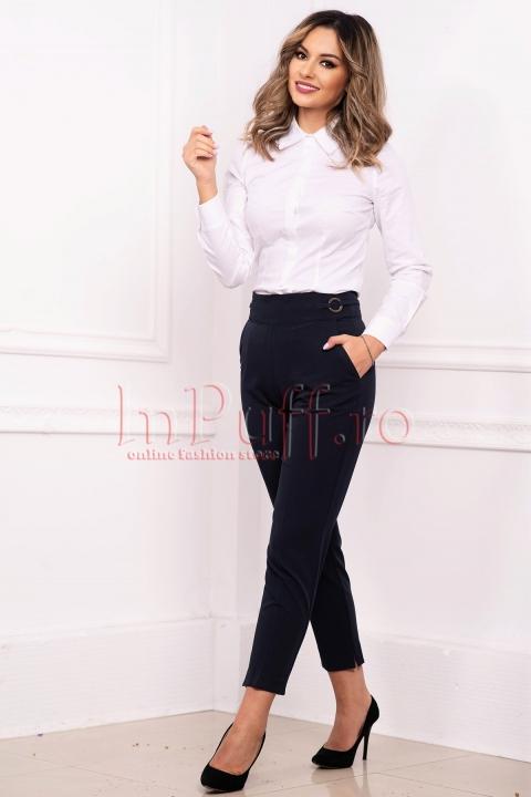 Pantaloni Pretty Girl office conici cu accesorii metalice in talie