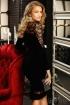 Rochie Fofy neagra de seara midi conica din catifea cu insertii din tul brodat si maneca lunga