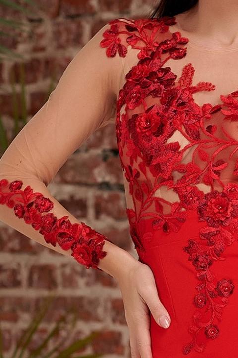 Rochie Atmosphere rosie de ocazie midi conica cu broderie florala