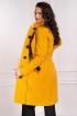 Palton dama galben mustar din stofa matlasat cu aplicatii din dantela neagra