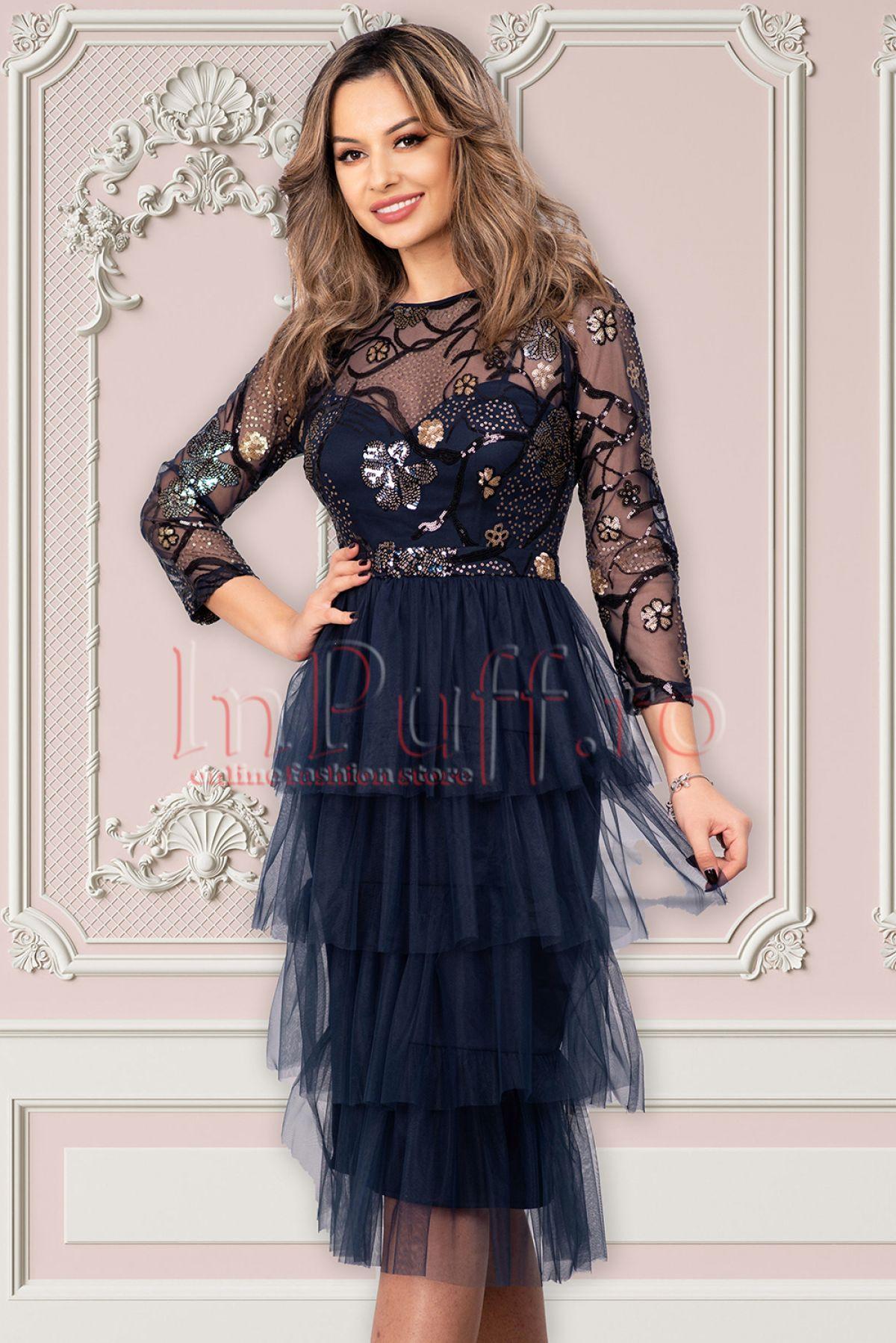 Rochie de seara bleumarin midi din tul cu paiete aplicate decolteu rotund si maneca trei sferturi