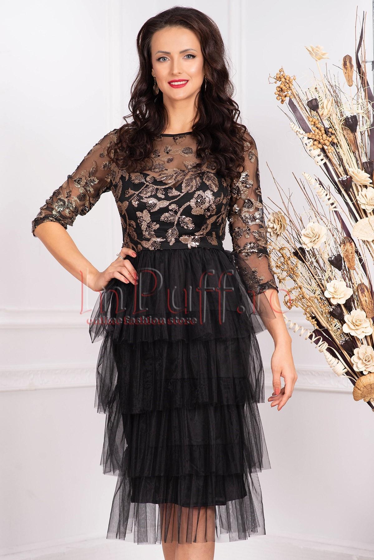 Rochie de seara neagra midi din tul cu paiete aplicate decolteu rotund si maneca trei sferturi La-Donna