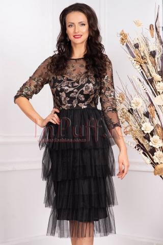Rochie de seara neagra midi din tul cu paiete aplicate decolteu rotund si maneca trei sferturi