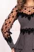 Rochie MBG pepit de ocazie cu broderie florala midi conica din stofa cu maneca lunga din tul cu buline