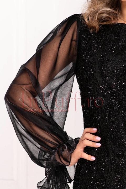 Rochie MBG neagra de seara midi conica din dantela cu fir irizant si paiete cu maneca lunga bufanta din tul