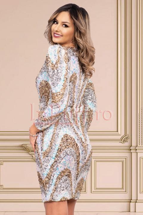 Rochie de seara midi conica din paiete multicolore cu decolteu in V petrecut si maneca lunga