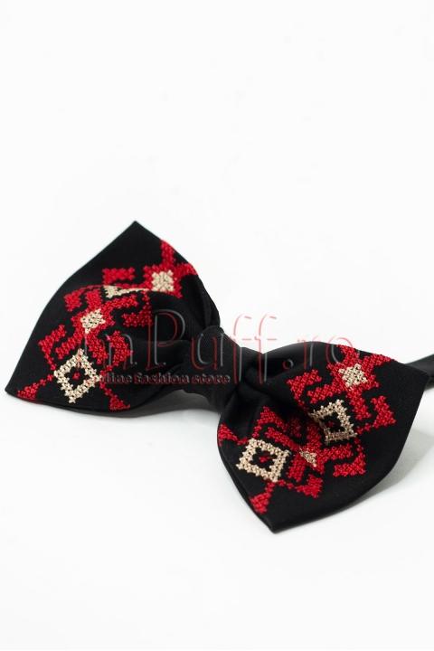 Papion negru cu broderie traditionala