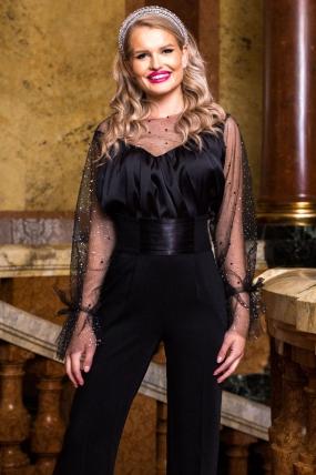 Bluza Pretty Girl eleganta neagra din satin cu decolteu si maneca transparenta cu strasuri