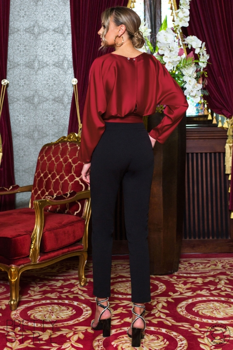 Pantaloni Pretty Girl negri lungi conici cu buzunare