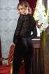Body Pretty Girl negru cu imprimeu animal print decolteu in V si maneca lunga