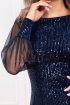 Rochie MBG bleumarin de ocazie midi conica din catifea cu paiete si maneca lunga din tul