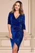 Rochie MBG albastra de ocazie din catifea cu paiete petrecuta cu maneca trei sferturi
