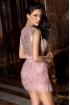 Rochie Atmosphere de seara scurta roz pal cu franjuri