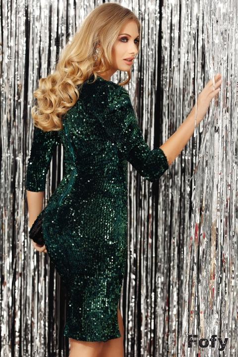 Rochie Fofy verde de seara midi cambrata din catifea cu paiete cu decolteu in V si maneca bufanta trei sferturi