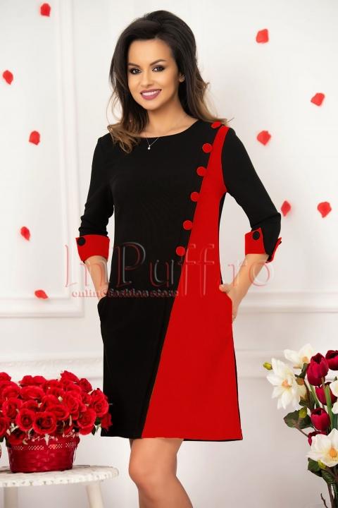 Rochie MBG negru cu rosu de zi office lejera midi din stofa cu maneca trei sferturi