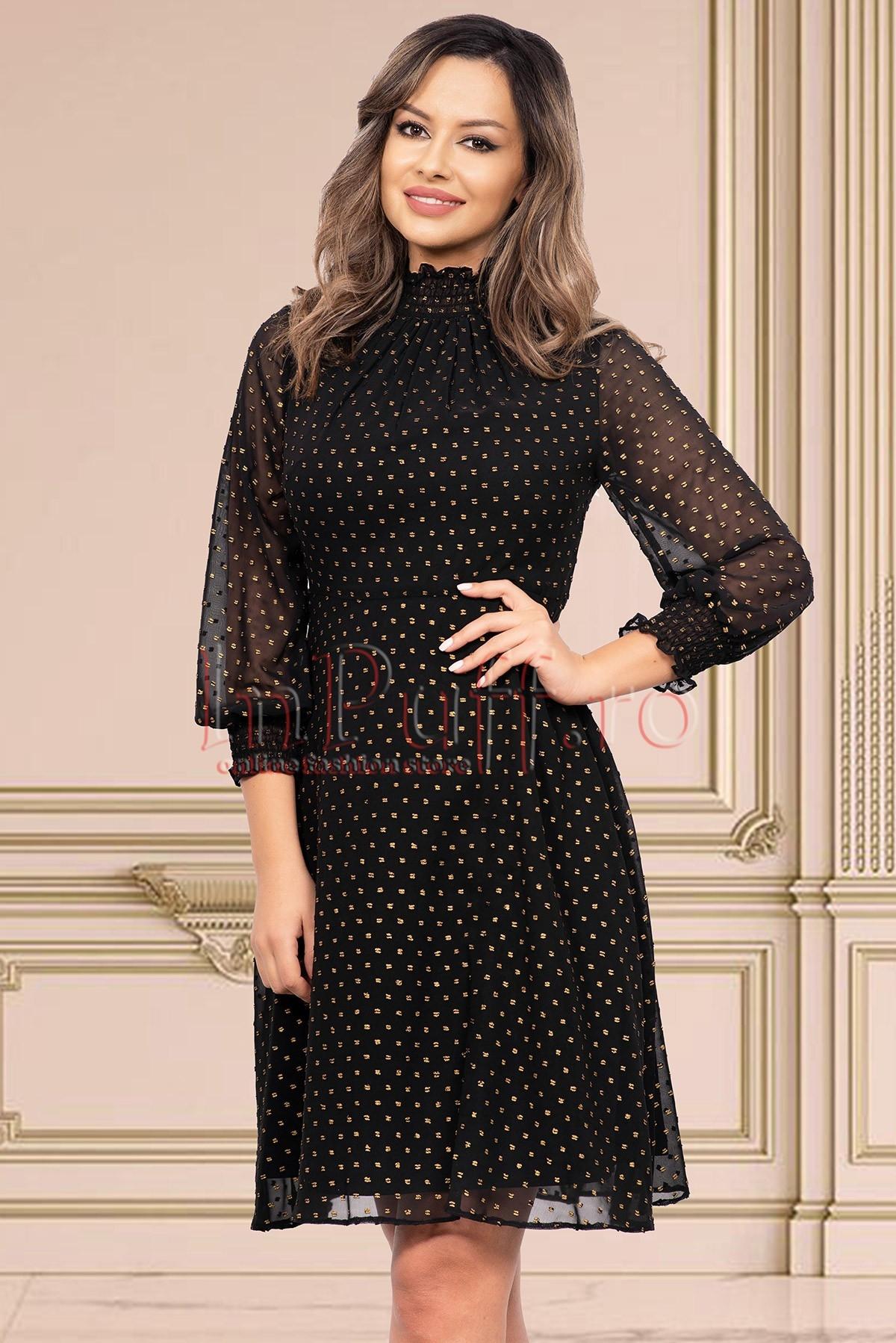 Rochie de seara neagra cu sclipici auriu din voal cu maneca lunga