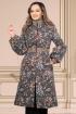 Palton Effect din lana cu imprimeu floral si insertii deosebite in talie