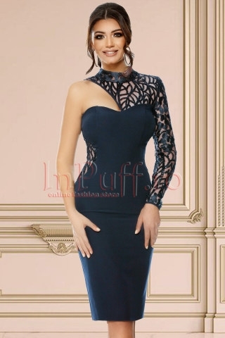 Rochie de seara bleumarin cu o maneca