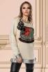 Pulover dama crem Venezia cu broderie florala si tul in zona bustului
