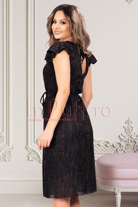 Rochie midi neagra Moze din crepe cu maneca scurta in pliuri