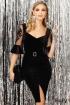 Rochie de ocazie Fofy neagra din catifea cu maneci din tul accesorizate cu broderie florala
