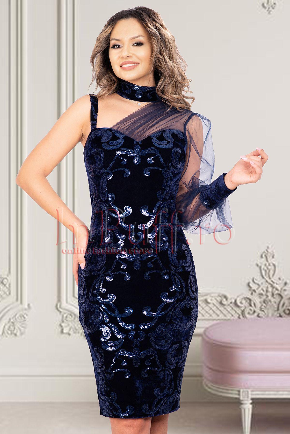 Rochie de seara MBG bleumarin cu maneci din tull si broderie paietata