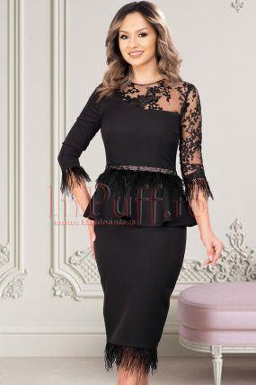 Rochie de ocazie MBG neagra cu pene si broderie florala