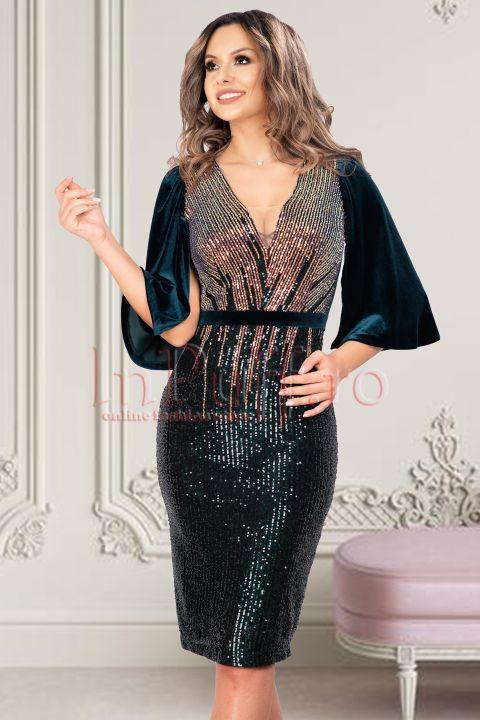 Rochie de ocazie midi bicolora cu paiete si maneci despicate