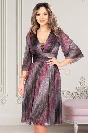 Rochie de seara din crep plisat cu fir irizant