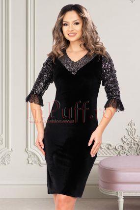 Rochie de ocazie neagra din catifea cu paiete si tul in zona manecilor