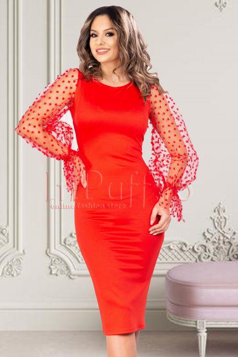 Rochie de seara rosie cu maneci din tul brodat cu model