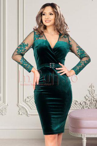 Rochie de ocazie verde inchis din catifea cu maneci din tul accesorizate cu paiete si broderie
