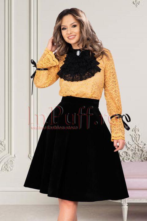Bluza eleganta dama galben mustar din dantela cu jabou detasabil