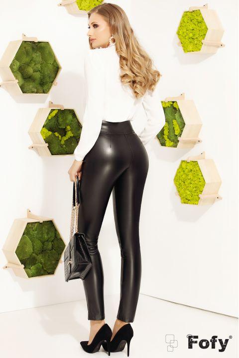 Pantaloni negri Fofy din piele ecologica