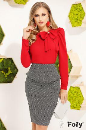 Bluza eleganta dama Fofy cu maneca lunga si funda accesorizata