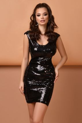Rochie de seara neagra Atmosphere din paiete negre cu spate decupat