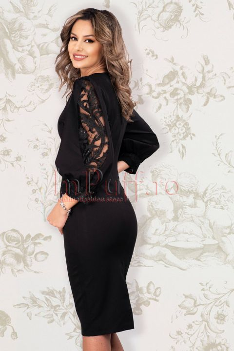 Rochie MBG eleganta neagra din stofa cu broderie aplicata si maneci bufante