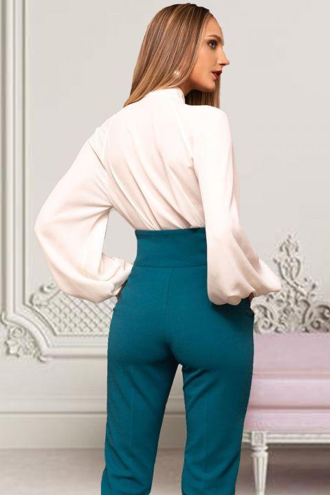Bluza eleganta alba Pretty Girl cu nasturei si maneca bufanta
