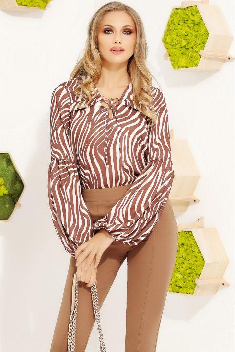 Bluza Fofy din voal cu imprimeu zebra