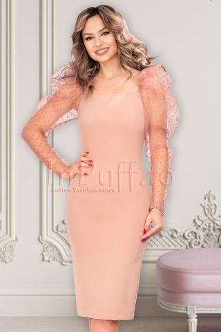 Rochie MBG roz cu maneci din tull