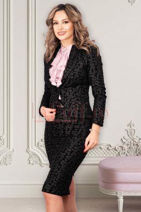 Compleu MBG negru texturat cu fusta si sacou