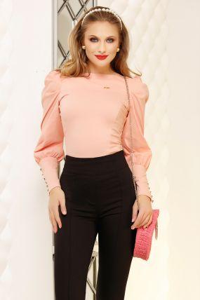 Camasa Fofy roz cu mansete late si nasturi cu strass