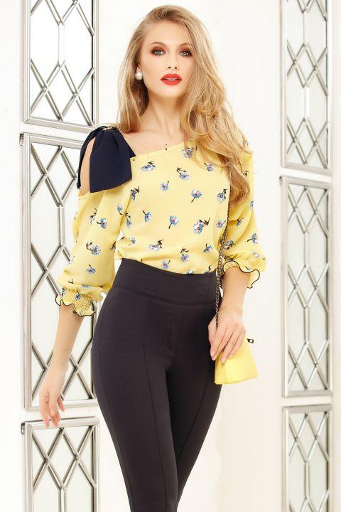 Bluza Fofy galbena cu imprimeu floral si funda pe umar