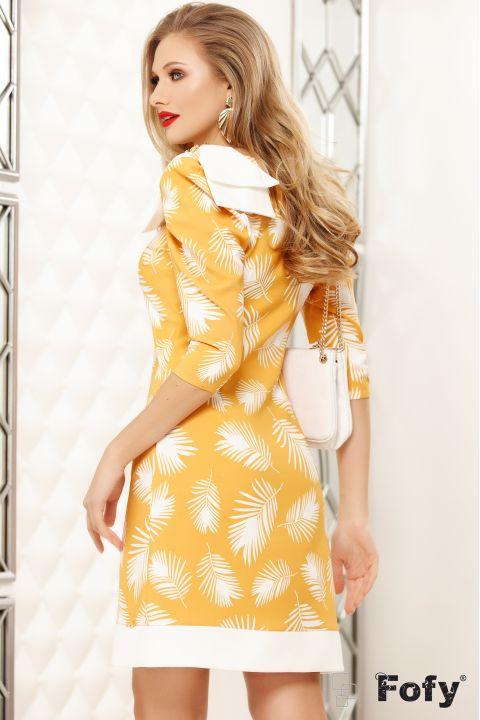 Rochie Fofy galbena cu imprimeu frunze stilizate